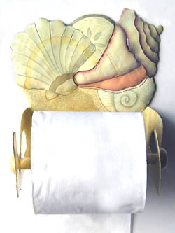 "Hand Painted Shell Toilet Paper Holder - Bathroom Decor - 7"" x 7"""