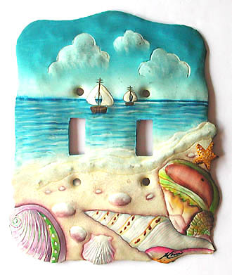 Seashore Switchplate Cover - 2 Holes - Distinctive Shell Home Decor  - 6