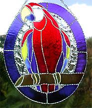 Scarlet Macaw Parrot Tropical Suncatcher - Stained Glass Art -  - handcrafted - hand made stained glass sun catcher