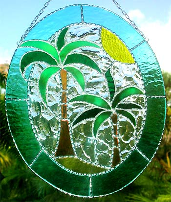 Palm Tree - Coconut Tree Suncatcher - Tropical Stained Glass Design  handcrafted - hand made stained glass sun catcher