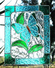 Aqua Butterfly Stained Glass Suncatcher - Handcrafted stained glass butterfly sun catcher