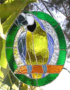 Blue & Gold Macaw Parrot Suncatcher - Parrot Art - Tropical Stained Glass Design - handcrafted - hand made suncatcher