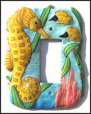 Hand Paintede Metal Nautical Seahorse Rocker Switchplate Cover - 1 Hole