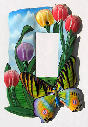 Single Rocker Light Switchplate - Hand Painted Butterfly Design