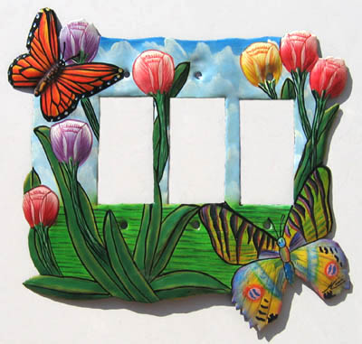 Decorative Butterfly & Flowers Switchplate Cover - Rocker Style