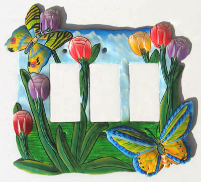 painted metal switch plate cover - butterfly