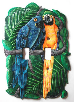 Painted Metal Parrots Decorative Switchplate -  Island art, Tropical parrot wall art