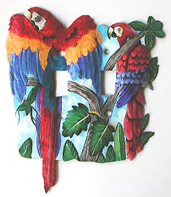 Light Switch Cover - Hand Painted Metal Parrot Design - Tropical Switch Plate Covers