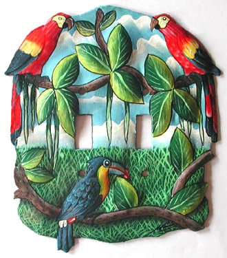 "Hand Painted Metal Tropical Parrot Light Switch Cover - 2 Holes - 6 1/2"" x 7"""