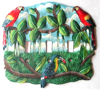 "Tropical Parrot Designed Switchplate - Hand Painted Metal 3 Holes - 8 1/2"" x 7 1/2"""