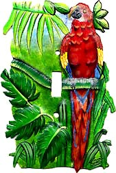 Parrot Toggle Switchplate - Hand Painted Metal Tropical Design Wall Decor