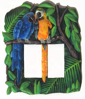 Tropical Parrots Decorative Switchplate - Hand Painted Metal Light Switch Cover