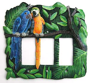 Painted Parrot Triple Switchplate - Haitian Metal Art -Tropical parrot metal art, Tropical design