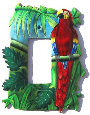 Tropical Switchplate - Parrot Design - 1 Hole -Tropical metal art, Tropical design