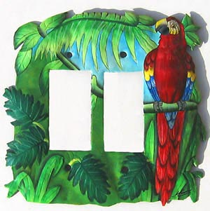 Parrot Rocker Switchplate Cover - Tropical Design - Hand Painted Switch Plate Cover