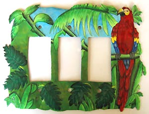Painted Parrot Triple Switchplate Cover -Beach house decor, Tropical metal art