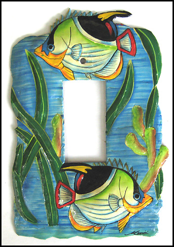 Rocker Switchplate Cover - Painted Metal Tropical Fish Design - 1 Hole