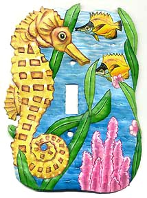 Painted Metal Seahorse Switchplate - Tropical Design - 5