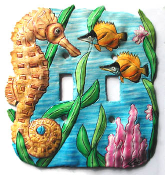 Hand Painted Metal Seahorse Toggle Switchplate - Double - 6
