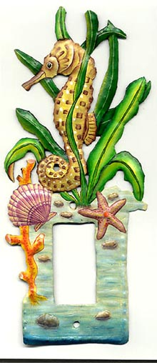Painted Metal Seahorse Rocker Switchplate Cover - 6