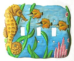 "Painted Metal Seahorse Triple Switchplate Cover - 8"" x 7"""
