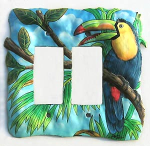 Tropical Double Switchplate - Painted Metal Toucan Parrot Switch Plate