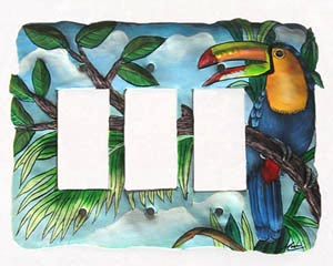 "Toucan Triple Switchplate Cover - Tropical Design - 8 1/2"" x 6 1/4"""