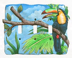 Toucan Light Switchplate - Painted Metal Tropical Parrot Design