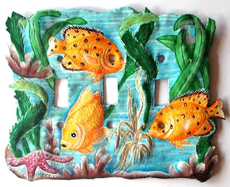 "Painted Metal Tropical Fish Toggle Switchplate Cover - 8"" x 6"""