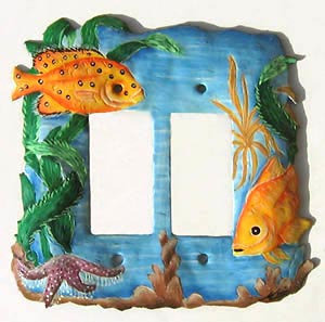 Painted Metal Tropical Fish Double Rocker Switchplate - 6