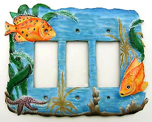Decorative Tropical Fish Switchplate - Triple - 8 1/2
