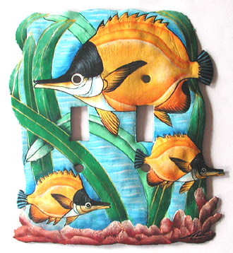 Hand Painted Tropical Fish Switchplate - Double - 6