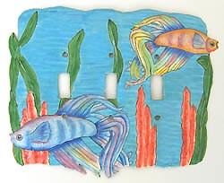 Tropical Betta Fish Light Switch Cover - 3 Holes - 8