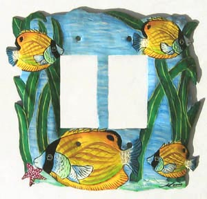 "Double Tropical Fish Switchplate Cover - Tropical Home Decor - 7 1/4"" x 6 3/4"""