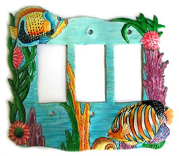"Painted Metal Tropical Fish Switch Plate Cover - Rocker - 8 3/4"" x 7"""