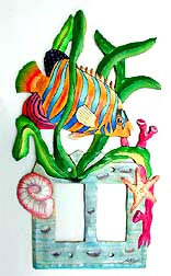 "Painted Metal Tropical Fish Switch Plate Cover - Rocker Style - 7"" x 12"""