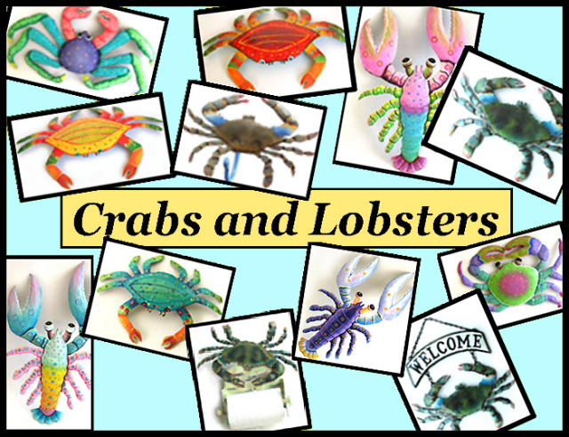 painted metal crabs and obaters - metal art wall art