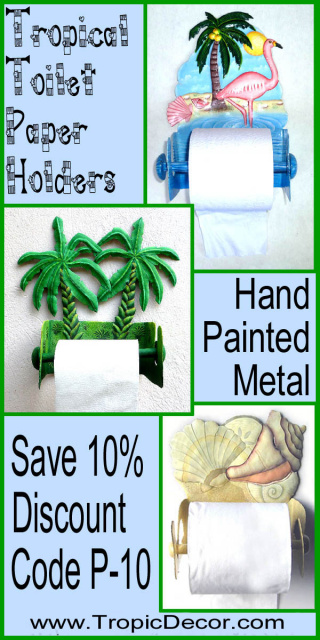 Painted metal toilet paper holders -Tropical Bathroom Decor