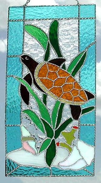 "Handcrafted Sea Turtle Stained Glass Suncatcher Panel - 8"" x 17"""