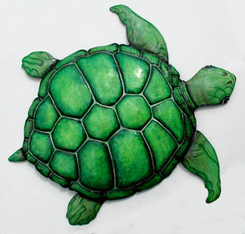 "Green Sea Turtle Wall Hanging - Handcrafted Painted Metal Wall Decor - 20"" x 24"""
