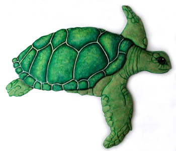 "Green Sea Turtle Wall Decor, Outdoor Metal Art, Painted Metal Design - 20"" x 23"""