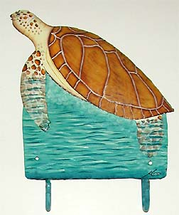 Brown Sea Turtle Wall Hook - Painted Metal Bathroom Decor -Handcrafted in Haiti from recycled steel drums and carefully hand painted.