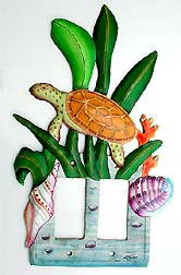 Painted Metal Turtle Double Rocker Switchplate Cover - 7