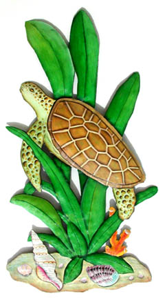 Hand Painted Metal Sea Turtle Wall Decor - Handcrafted in Haiti from recycled steel drums and carefully hand painted.