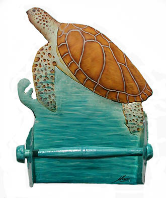 Painted Metal Turtle Toilet Paper Holder - Handcrafted in Haiti from recycled steel drums and carefully hand painted.