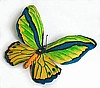 Tropical Butterfly Wall Hanging - Hand Painted Metal - Garden Decor - 16""