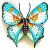 Painted Metal Aqua Butterfly Wall Hanging - Recycled Steel Drum Garden Decor -  34""