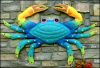 "Large Crab Wall Decor- 48"" Blue Crab Metal Wall Art, Coastal Metal Wall Decor - Garden Decor - Tropi"