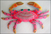 "Metal Crab Tropical Wall Decor - Hand Painted Haitian Metal Art - 11"" x 16"""