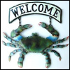 "Painted Metal Blue Crab Welcome Sign, Coastal Wall Decor, Nautical Design - 10"" x 15"""